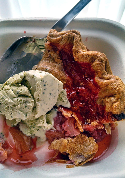 Basil ice cream on some strawberry rhubarb pie from Mission Pie