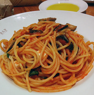 Buccatini with eggplant from Eataly